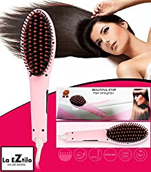NEW UPGRADED VERSION - Beautiful Star Hair Straightener Brush with LCD Display - Best Quality