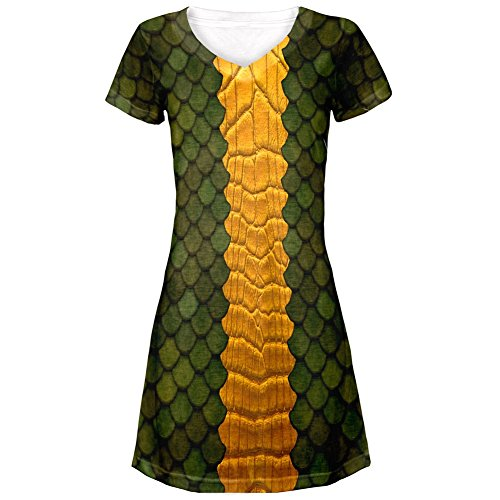 Halloween Green Dragon Costume All Over Juniors V-Neck Dress
