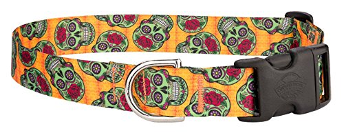 [Country Brook PetzTM Sugar Skulls Feather Weight Deluxe Dog Collar - Extra Small] (National Costume Of All Countries)