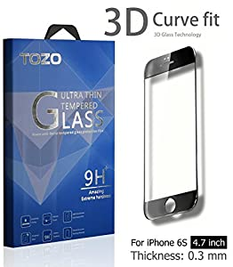 iPhone 6S 3D Screen Protector Glass , TOZO Full Screen Frame Cover [3D Touch Compatible] Premium Tempered Glass 9H Hardness 2.5D Edge Silk Print Super Clear Perfect Fit Screen [ 4.7 inch ] Black from TOZO