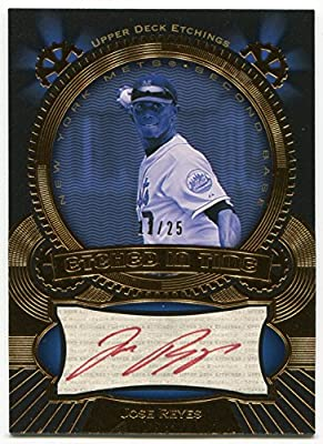 2004 Upper Deck UD Etchings JOSE REYES Etched in Time Red Ink Auto #JR Rare Signed Card Serial Numbered #12/25 New York Mets Autographed Toronto Blue Jays