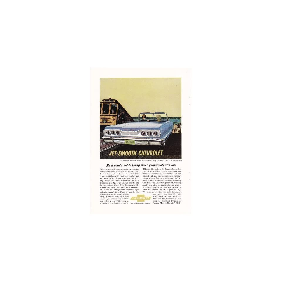 1963 Ad Blue Jet Smooth Chevy Impala Convertible Original Car Print Ad
