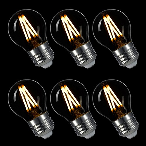 LIGHTSTORY LED Edison Bulb G14, E26 Base 2700K Dimmable Decorative Globe LED Bulb, 3W=40W (6 Pack) (Led Globe Lights Small Base compare prices)