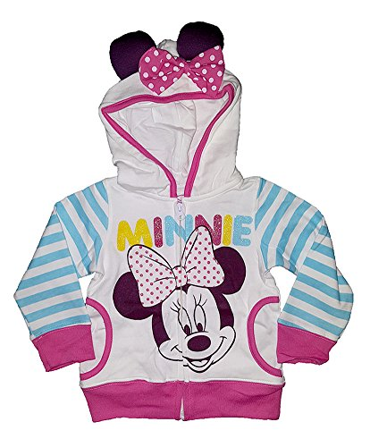 Disney Minnie Mouse Face Sweatshirt Hoodie Toddler Girls Pink