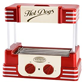 "Nostalgia Electrics Retro Series Hot Dog Roller (Red and Silver) (15.3""H x 9.5""W x 15.1""D)"