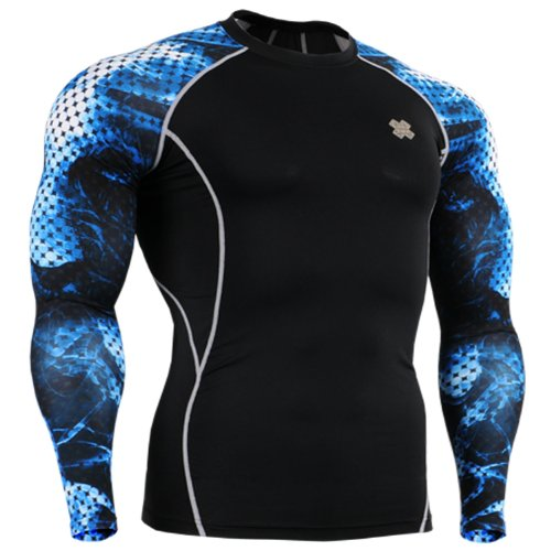 Fixgear Sports Mens Womens Compression Running Base layer T shirt Blue Print S~2XL