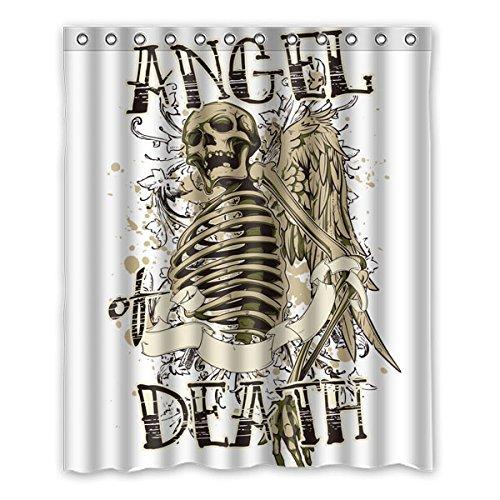 """Elementi di stile punk Avantgarde. Angelo del cranio. MORTE DI ANGEI. Colore di sfondo è bianco Disegno 100% poliestere tessuti impermeabile bagno Shower Curtain 60""""x72"""" (150cm x 183cm)"""