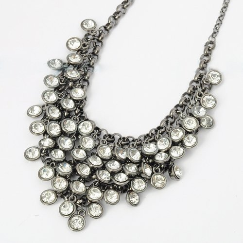 Fashion Gray Black Chain White Rhinestone Bunch Pendant Bib Statement Necklace