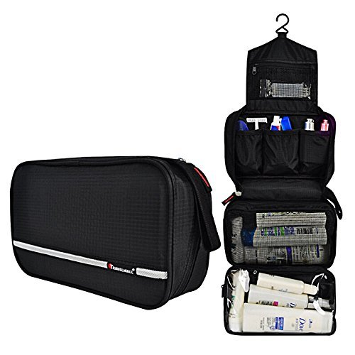 GHB Beauty Case da Viaggio Borsa da Toilette Cosmetico Bag Impemeabile Multi-compartimenti per Organizzare Oggetti Personali -- Colore Nero
