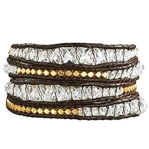 Rafaela Donata - 60831004 - Bracelet Femme - Cuir Véritable - Marron foncé - Perle - Métal Doré - Cristal - Blanc