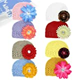 KF Baby Soft Crochet Beanie Hat with Flower Clip, Set of 8 (8 Hats + 8 Clips)