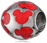Disney Stainless Steel Mickey Red Enamel Inlay Bead Charm