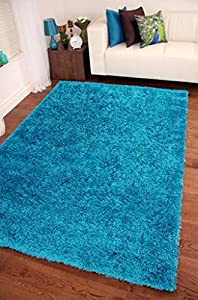 "Shaggy Rug Teal Blue 963 Plain 5cm Thick Soft Pile 200cm x 290cm (6ft 7"" x 9ft 6"") Modern 100% Berclon Twist Fibre Non-Shed Polyproylene Heat Set - AVAILABLE IN 6 SIZES by Quality Linen and Towels by Quality Linen and Towels"