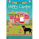 Camping Out Summer Garden Flag Camper Outdoor Pop Up Flower Black Dog 12.5