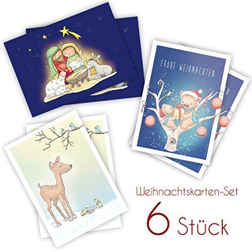 6 niedliche weihnachtskarten postkarten set f r kinder - Niedliche weihnachtskarten ...
