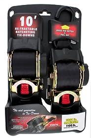 "Erickson 34416 Pro Series Black 2"" x 10' Retractable Ratcheting Tie-Down Strap"