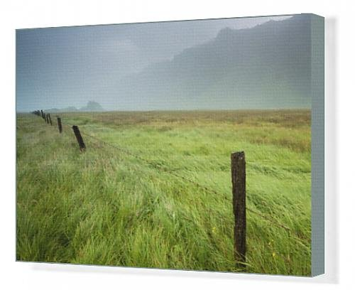 canvas-print-of-fog-over-a-field-with-long-grass-and-wooden-fence-posts-with-the-mountains-in