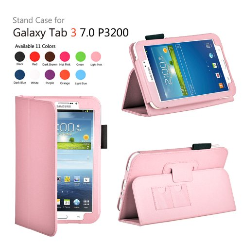 onWay(TM) Slim Fit Leather Case Cover for Samsung Galaxy Tab 3 7.0 inch Tablet (SM-T210/GT-P3200/P3210) + Gift: stylus touch pen x1, (Light Pink)