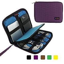 Khanka Portable Universal Electronics Accessories Travel Carrying Organizer Case Bag For Various USB Cable, External Hard Drive, Apple iPad Mini, Samsung Tab 4 (7-Inch) (V2-Small-Purple)