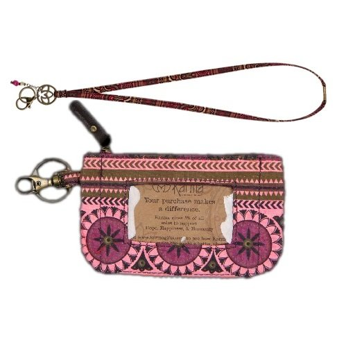 Karma Women's Fashionable All in One Pocket Zip ID Case with Lanyard