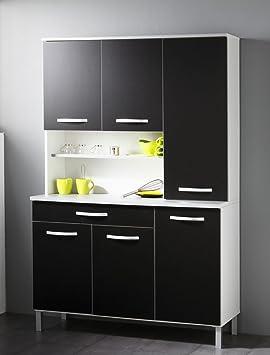 Kuchenschrank Seamus 12 120x181x44 cm weiß schwarz Schrank Buffetschrank Buffet Kuche Kuchenbuffet Anrichte
