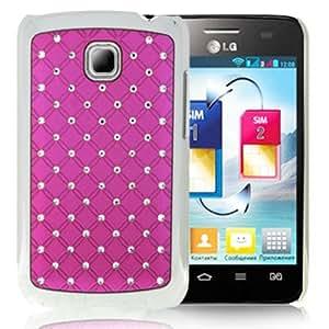 Luxury Bling Diamond Plating Skinning Case for LG Optimus L3 II / E430 (Magenta)