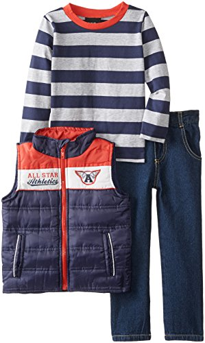 Boys Rock Little Boys' 3 Piece Puffy Vest Set Stripes All Star, Navy, 2T back-219273