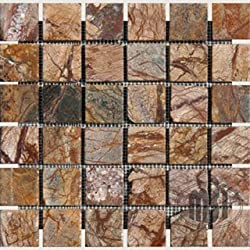 Cafe Rain Forest Brown Tumbled Marble in 2x2 Mosaic Tiles
