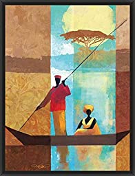 20in x 26in On the River I by Keith Mallett - Black Floater Framed Canvas w/ BRUSHSTROKES