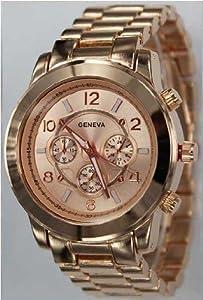 839-rg Rose Gold Chronograph Unisex Boyfriend Style Designer Metal Link Watch