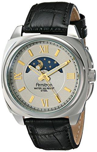 Para hombre Armitron 20/5026gysvbk Sun/Moon pantalla esfera correa de cuero Negro Reloj