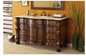 "60"" Large Single Sink Bathroom vanity cabinet - Model BA-4437M-60 Hopkinton"