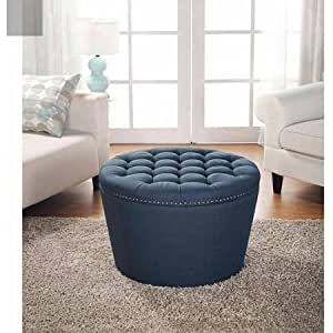 Better Homes And Gardens Round Tufted Storage Ottoman With Nailheads Navy Kitchen