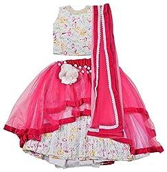 Angel Wears Girls' Net Lehenga Choli (Aw027_3-4 Years, Pink and White, 3-4 Years)