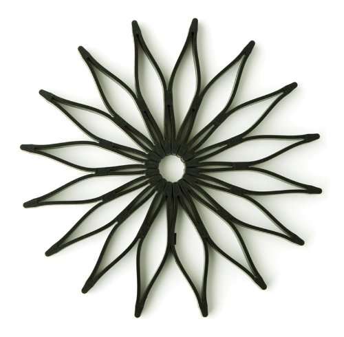 Spice Ratchet Blossom Multi-Use Silicone Trivet, Black