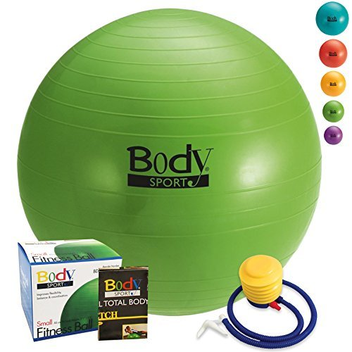 Exercise Ball With Pump (Green 55cm) - by BodySport - Strengthen Your Core for Great Abs - Tone - Yoga - Fitness - Stability - Pilates - Free Exercise Guide Included