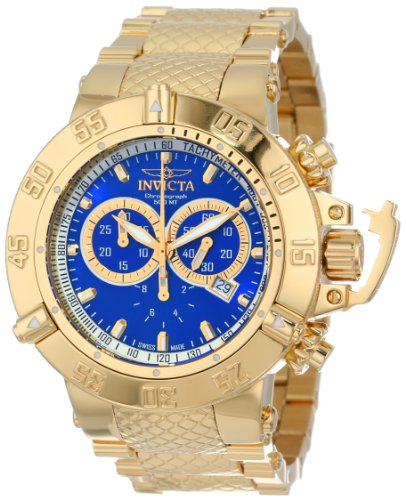 Invicta Men's 14501 Subaqua Noma III Chronograph Blue Dial 18k Gold Ion-Plated Stainless Steel Watch
