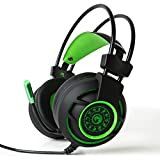 Marvo HG9012 7.1 Channel Vistual USB Surround Stereo Wired PC Gaming Headset LED Lighting(On/Off) Computer Headphones with Mic Revolution Volume Control Noise Canceling