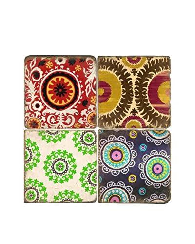 Studio Vertu Set of 4 Multi Color Suzani Tumbled Marble Coasters with Stand