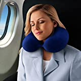Travel Pillow - Kohbi Travel Bliss Memory Foam Neck Pillow - Premium Ergonomic Neck Support Pillow - BEST Neck Rest Pillow, Airplane Pillow - Luxurious Washable Velour Cover with Snap - Astral Blue