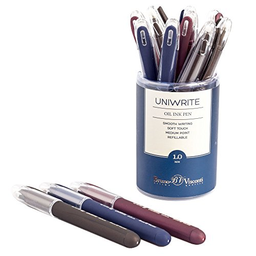 bruno-visconti-luxury-oil-pen-uniwrite-pack-of-12-with-kernel-10mm-business-gift-pens-blue-brown-bor