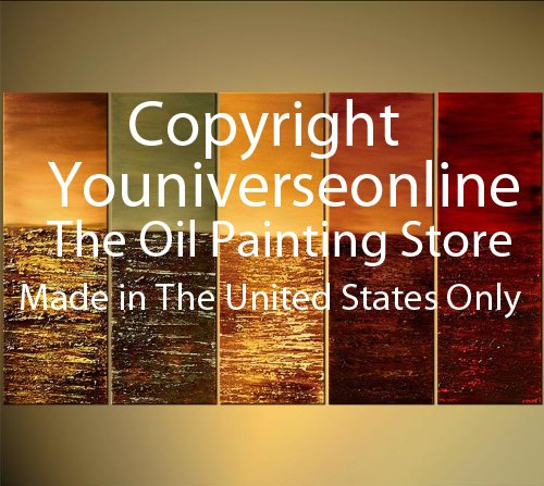 Abstract Warm Color Tones Oil Painting Hand Painted Wall Art 5 Piece