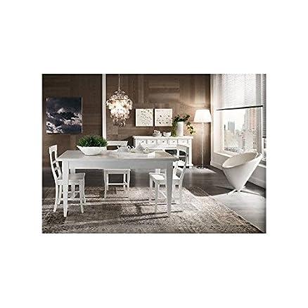 TAVOLO L 180 ALLUNGABILE CUCINA DESIGN COUNTRY MODERNO BIANCO LEGNO MASSELLO - - Come foto bianco e avorio