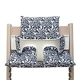 Blausberg Baby High Chair Cushion for Tripp Trapp Elegant Flowers blue and white
