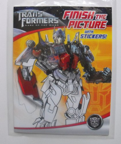 Transformers Dark Of The Moon 32 Page Finish The Picture With Stickers Coloring Book.