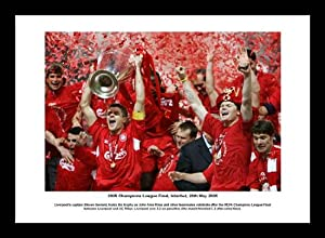Liverpool Fc Players With The 2005 Champions League Trophy Framed Picture Memorabilia
