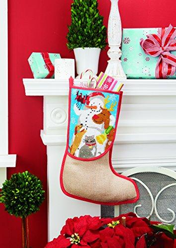 """Stickpackung """" STIEFEL MIT SCHNEEMANN , RENTIER , HUND UND KATZE """" perfekt als Geschenk zum Nikolaus oder Weihnachten - Größe 30 cm x 40 cm , Stickgarn in 17 Farben - Kreuzstich vorgezeichnet - Stoff aus 100 % Jute , Stickgarn aus 100 % Baumwolle - fertig gesäumt - qualitativ hochwertig - zum Sofort-Loslegen - zum Selbersticken - aus dem KAMACA-SHOP - Advent Weihnachten"""