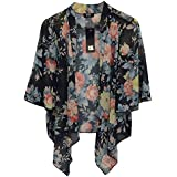 Womens Ladies Chiffon Kimono Printed Waterfall Cardigan Tops Uk8-22