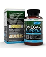Omega-3 Suprême - 1400 mg d'huile de poisson, 75% Oméga-3 avec 1050 mg d'oméga-3, 644 mg d'EPA et 336 mg de DHA - Sans renvoi, absorption maximale - 180 gélules