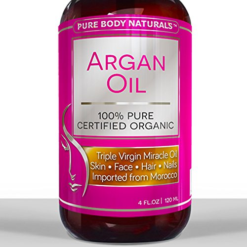 BEST ORGANIC Argan Oil For Hair, Face, Skin & Nails - 100% PURE & ECOCERT Certified - HUGE 4OZ Bottle - Triple Purified Moroccan Argan Oil Therapeutic for All Skin Conditions - Very Lightweight & Delicate Oil gives INSTANT results leaving Soft, Silky, Hydrated Hair, Free from Split Ends and Frizz. Also very effective for Anti-Aging and treating Acne, Dry Scalp, Stretch Marks, and Psoriasis. Our Amazing Natural Argan Oil Will Leave Your Hair, Skin & Body More Radiant, Beautiful & Youthful Looking. We'll refund your money if not satisfied! Try Without Risk Today!